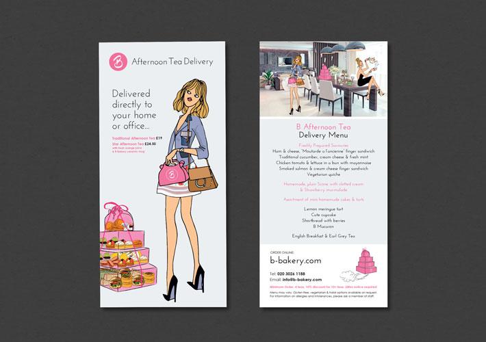 B Bakery Afternoon Tea Delivery leaflet design
