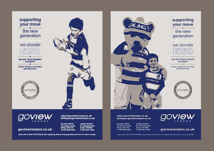 Go View Estate Agent Branding - adverts trailfinders