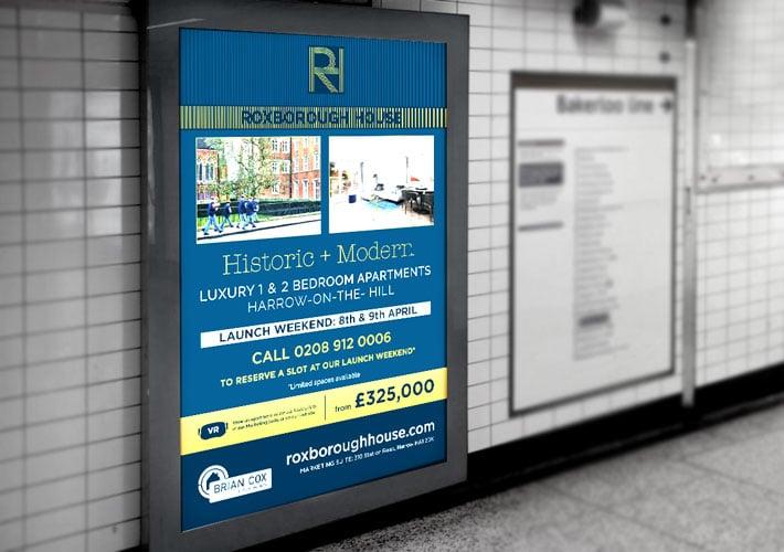 property development branding: tube station poster advert design