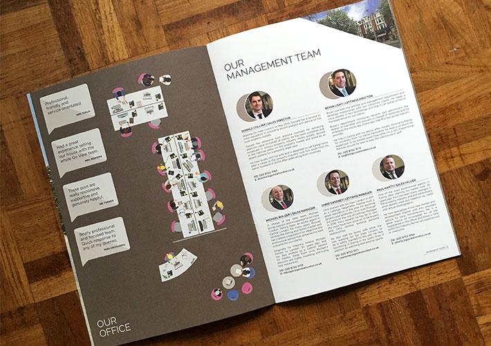 estate agent branding corporate brochure and office illustration