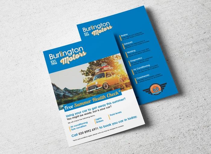 burlington motors branding flyers