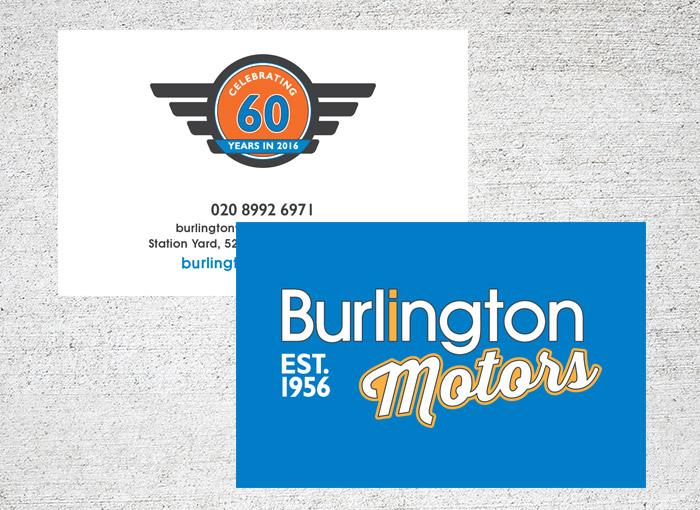 burlington motors branding business cards