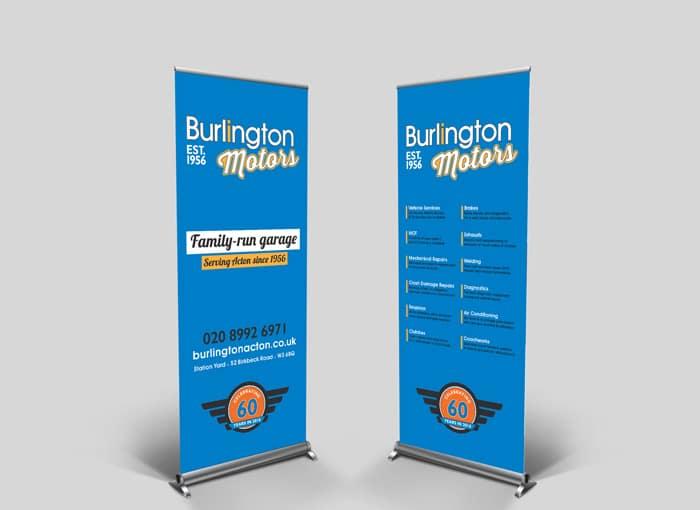 burlington motors branding pop-up banners