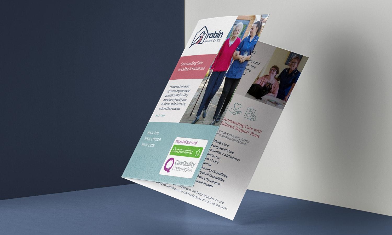 Robin Home Care branding flyer design